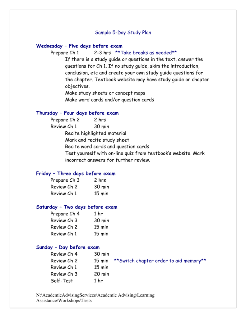 sample 5 day study plan