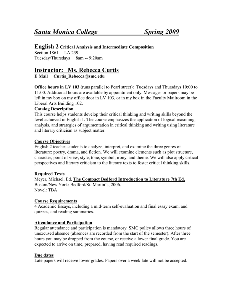 syllabus faculty homepages homepage smc edu