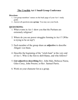 The Crucible Act 1 Small Group Conference Directions: List group
