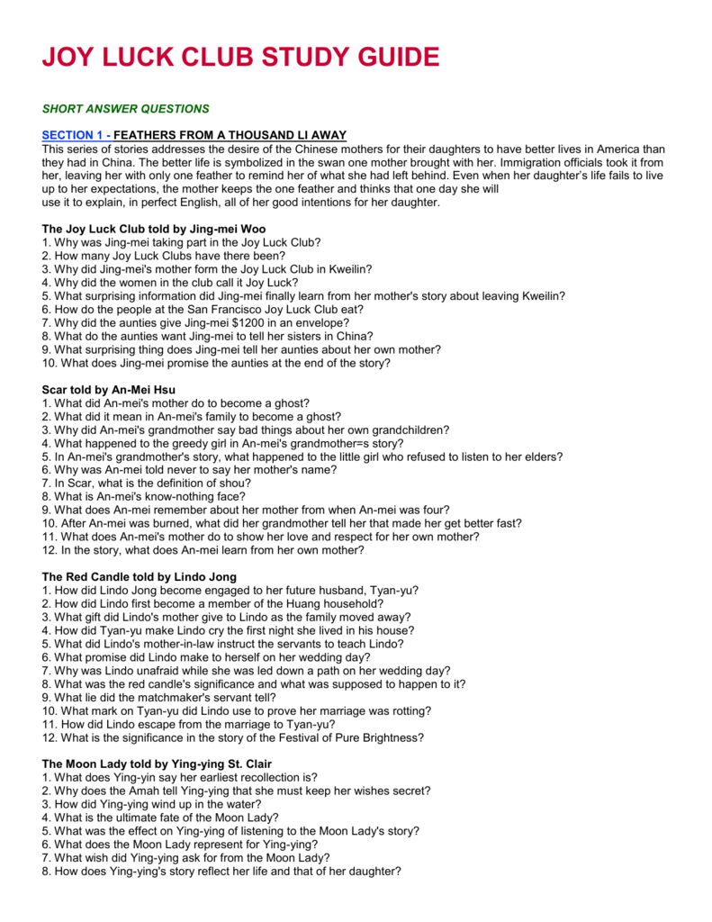 jing mei woo the joy luck club essay The joy luck club free digital software notes on suyuan woo - jing-mei's mother and the founder when she visits the joy luck club, jing-mei learns that the.