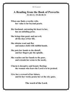 Reading Book of Proverbs 31:10-13, 19-20-30-31