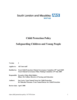 Child Protection Policy - London Safeguarding Children Board