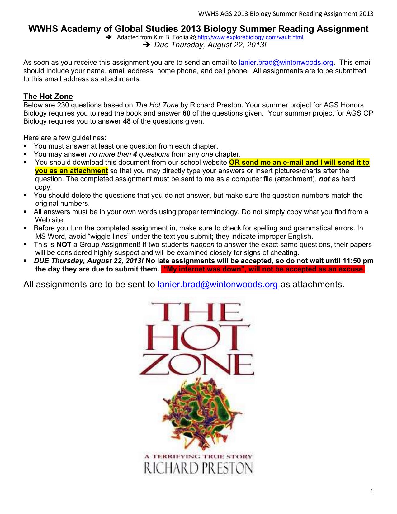 the hot zone book report
