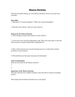 Monroe Doctrine Socratic Seminar Lesson Plan