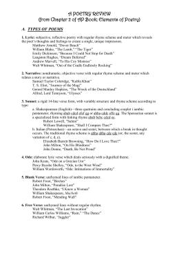 Poetry Review Packet - Sandra Lockhart English Learning Leader