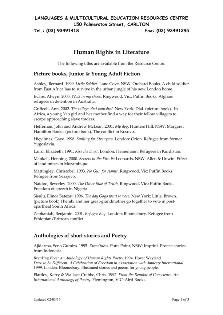 Human Rights in Literature