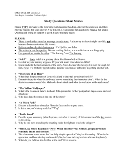 Study Questions: Short Stories