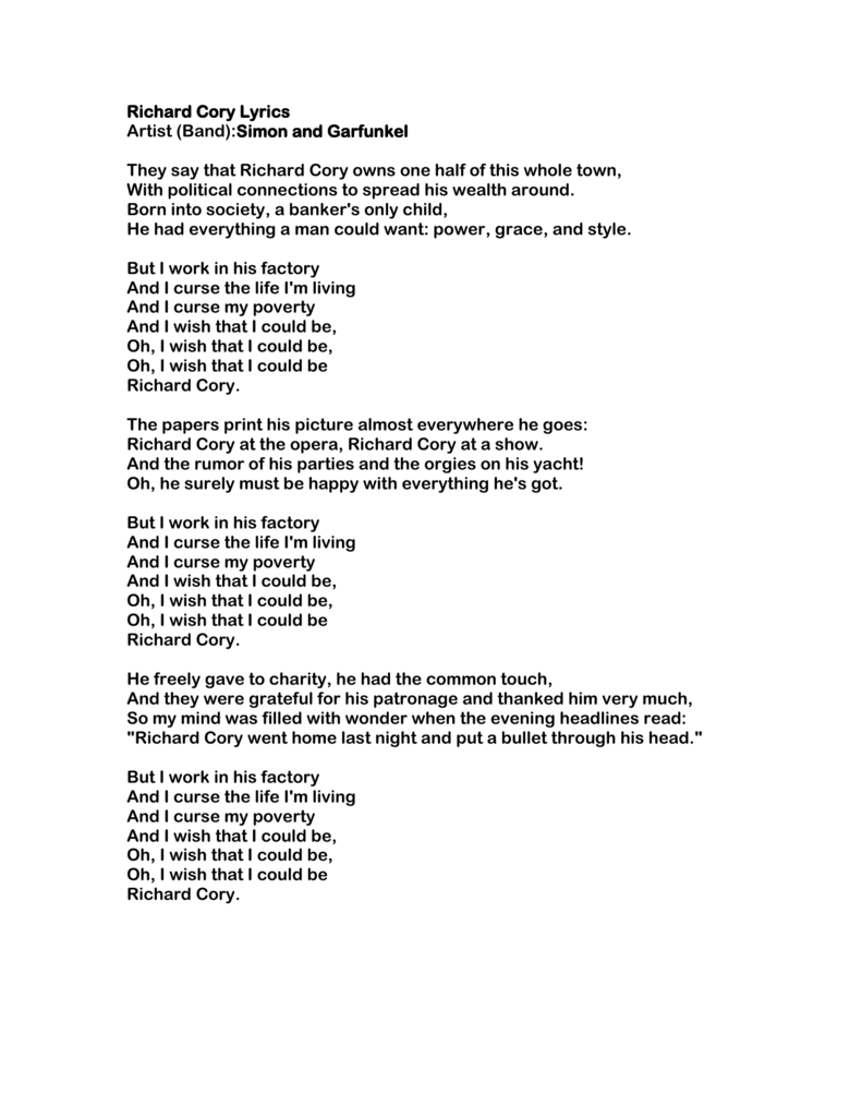 richard cory lyrics