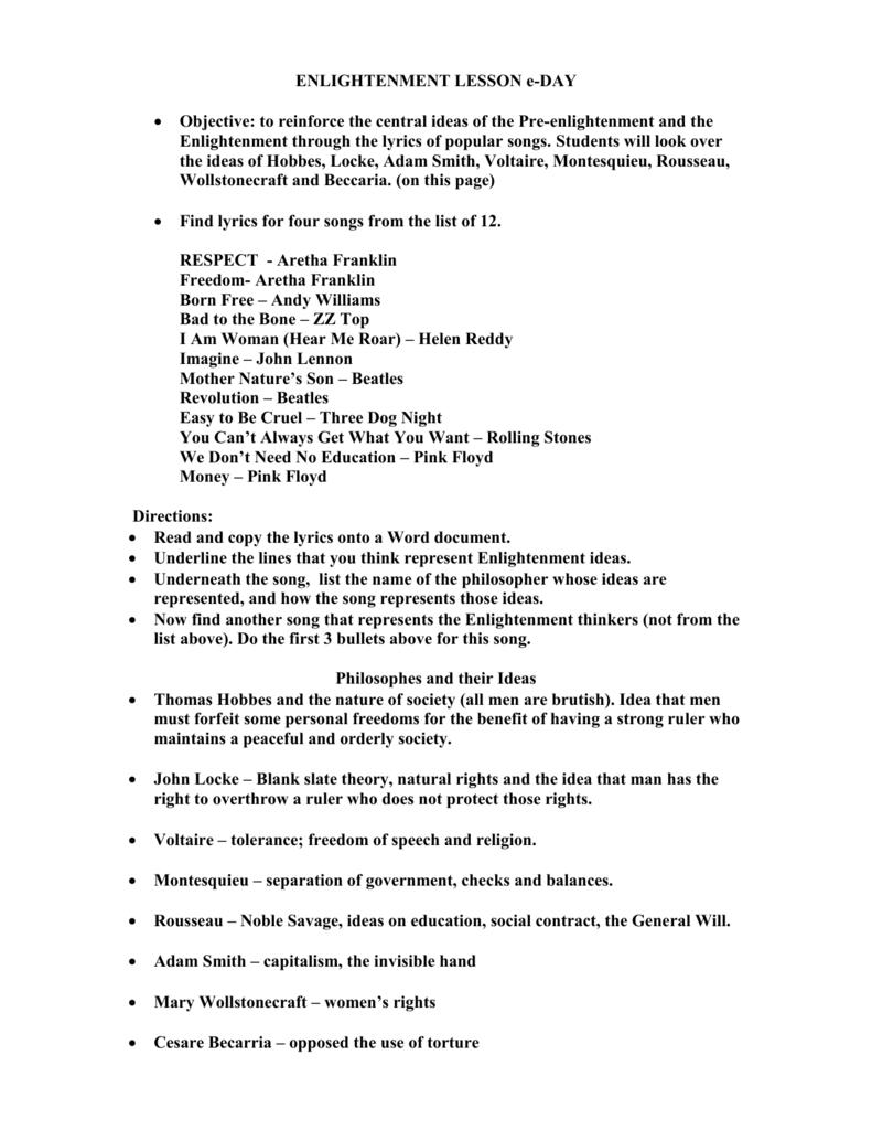 worksheet Enlightenment Worksheet enlightenment songs