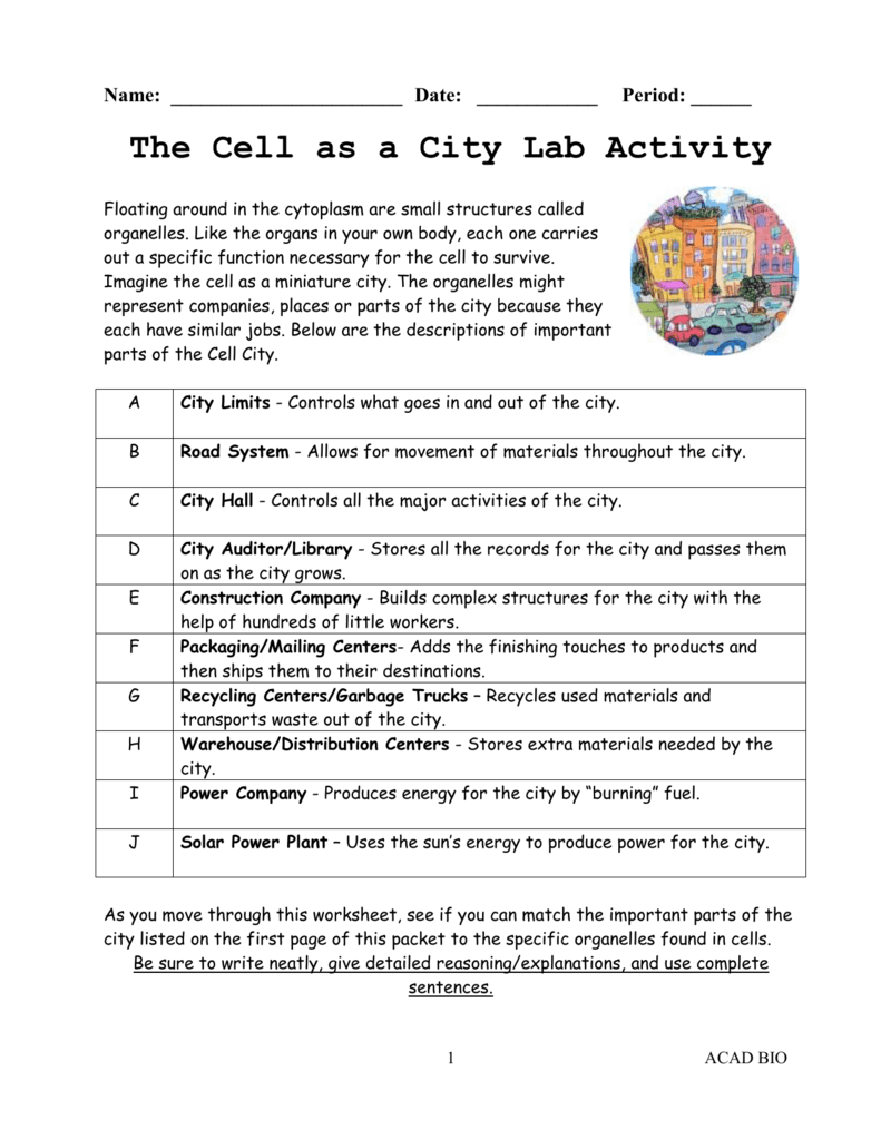 worksheet Cell City Worksheet Answers 5 academic bio cell as a city lab activity doc doc