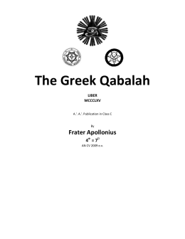 Crowley`s Greek Qabalah from