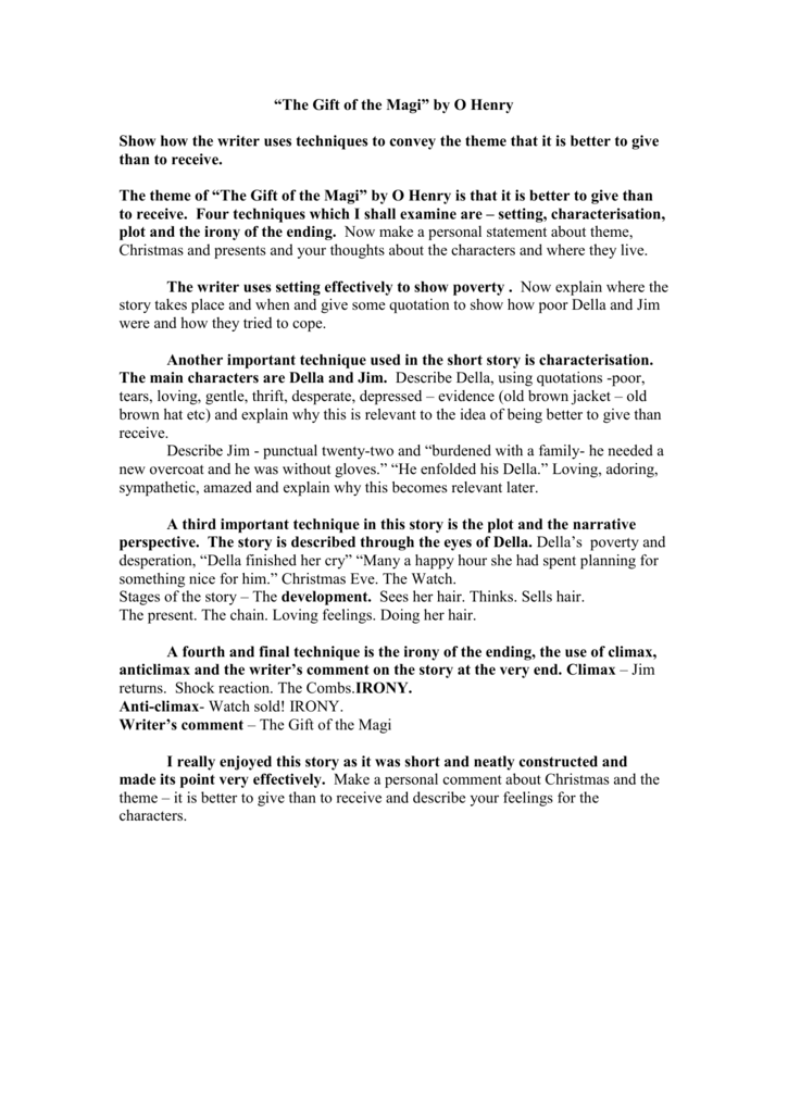 The Gift Of The Magi By O Henry Topic Sentencs Doc