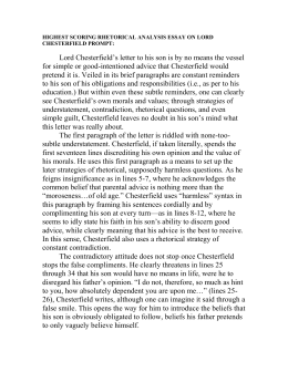 lord chesterfields rhetorical strategies