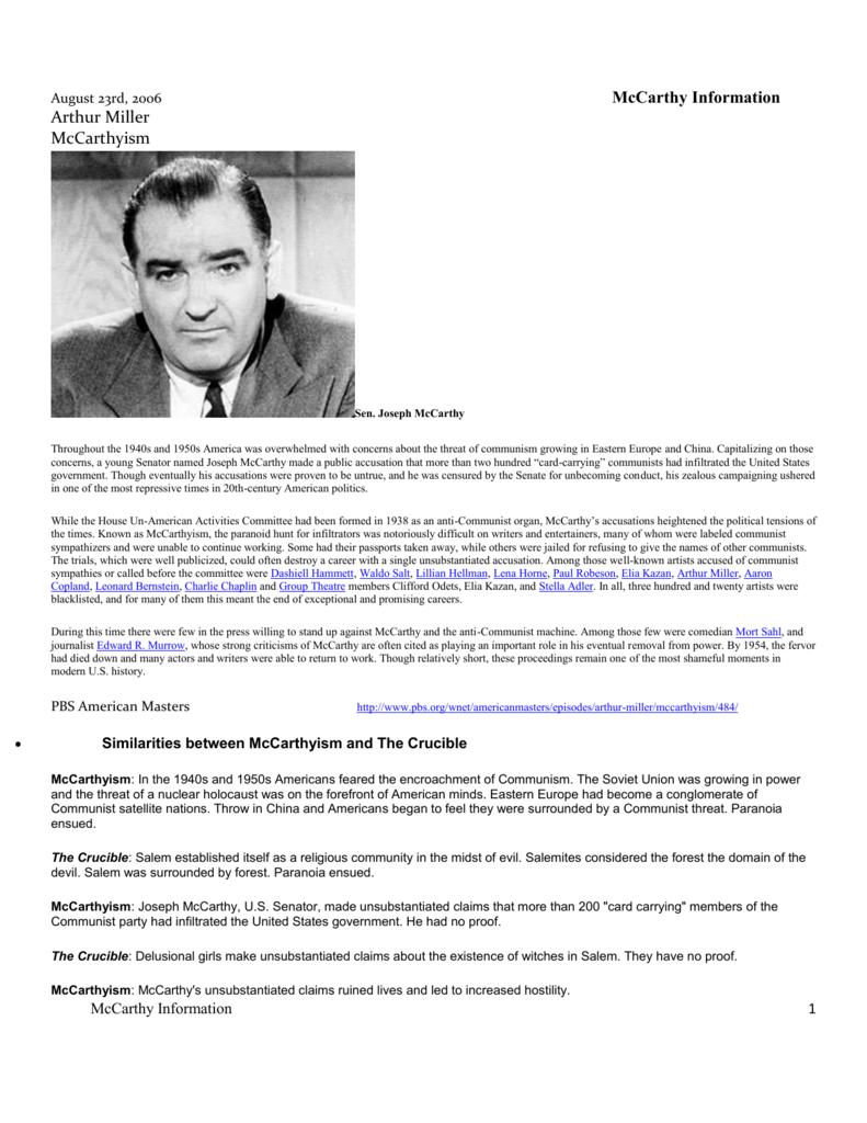 McCarthyism Information