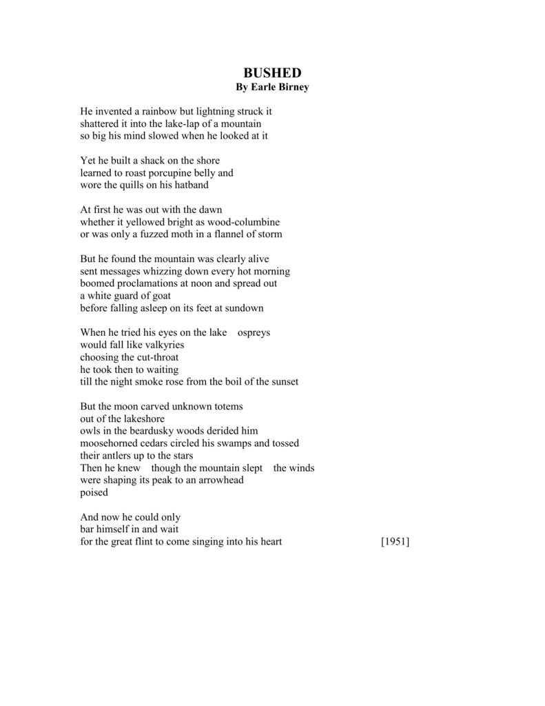 bushed poem