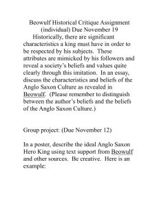 Beowulf Historical Critique Assignment (individual) Due November