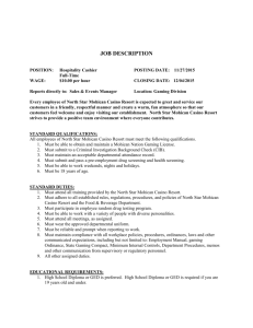 job description - North Star Mohican Casino Resort