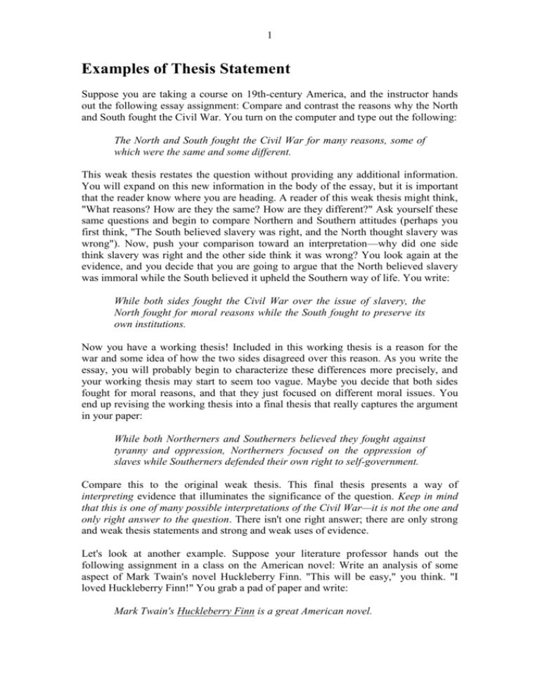 civil war thesis statement examples