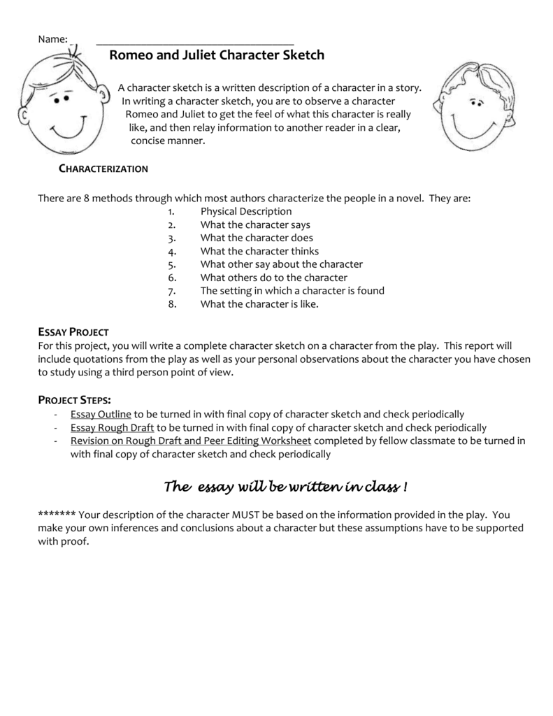 Romeo and Juliet Character Sketch Outline – Character Sketch Worksheet