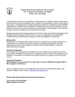National Honor Society Application