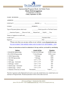 Ad Order Form - The Paul Center