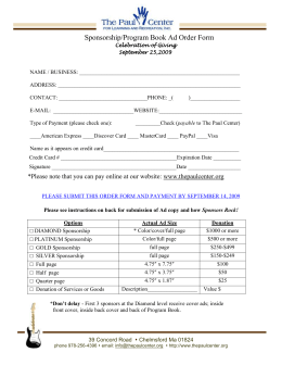 Sponsorship/Program Book Ad Order Form