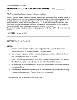 background information on enzymes and catalase biology essay Enzyme lab - ex 4  we will use homogenized chicken or beef liver as a source of catalase the other enzymes were obtained  return to the biology.