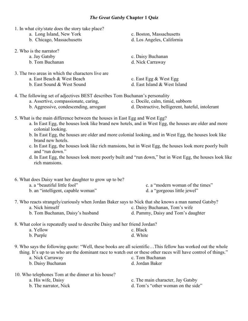 The Great Gatsby Chapter 1 Quiz