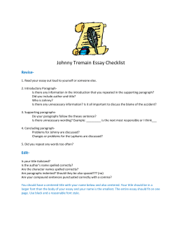 narrative essay info johnny tremain essay checklist doc