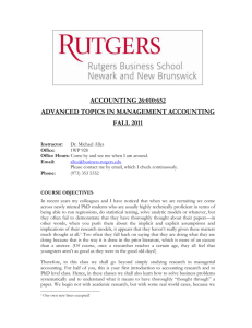 Managerial Accounting - Rutgers Business School