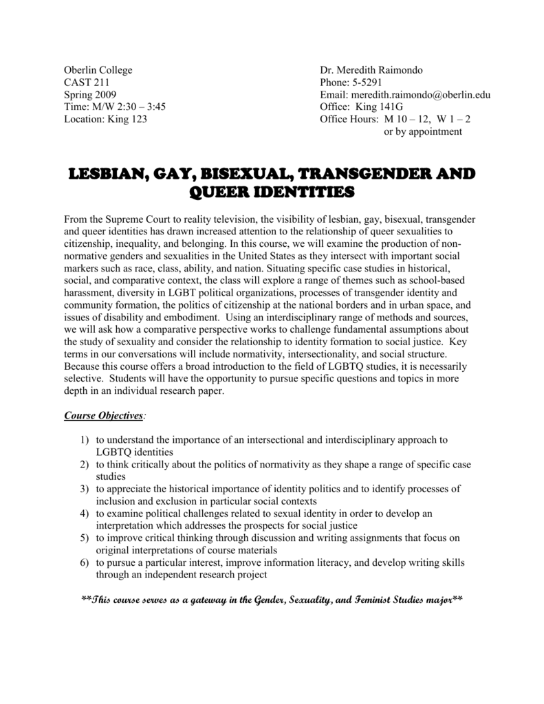 Gender sexuality and feminist studies oberlin