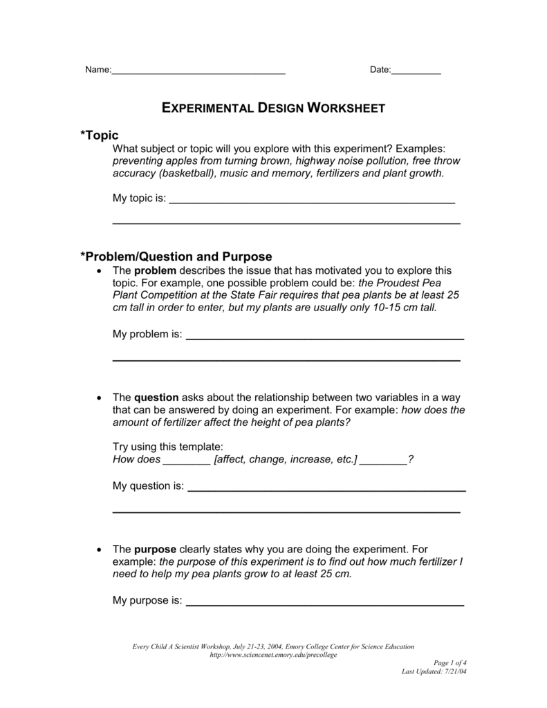 worksheet Design An Experiment Worksheet experimental design worksheet the emory college center for
