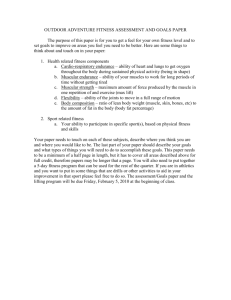outdoor adventure fitness assessment and goals paper