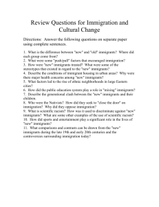 Review Questions for Immigration and Cultural Change