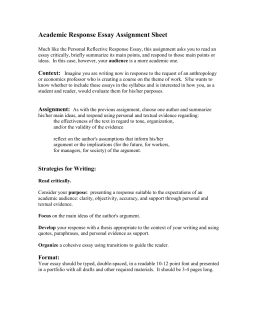 Academic Response Essay Assignment Sheet