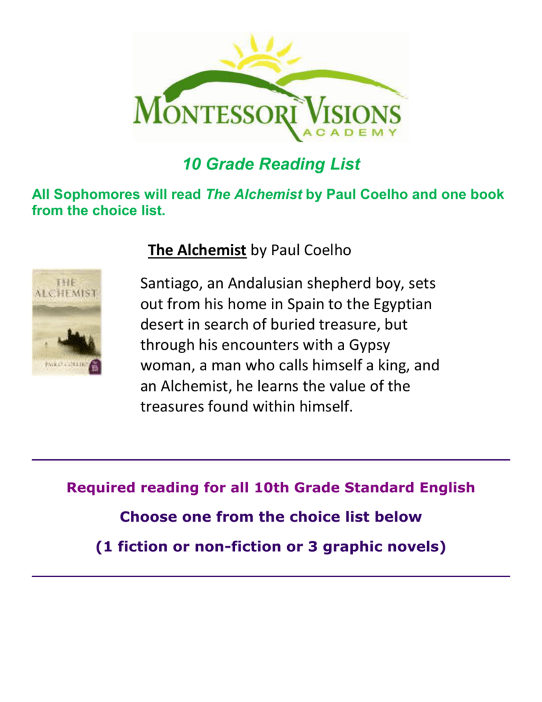 10th grade reading list - montessori visions academy