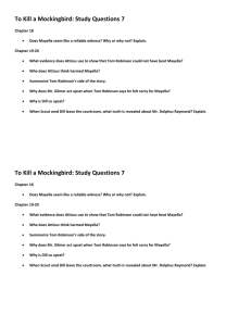 To Kill a Mockingbird: Study Questions 7 Chapter 18 Does Mayella