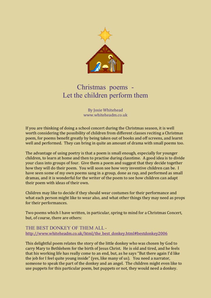 Children Christmas Poem.Christmas Poems Let The Children Perform Them