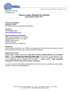 Casino Lawyer Request for Articles Spring Edition, March 2015