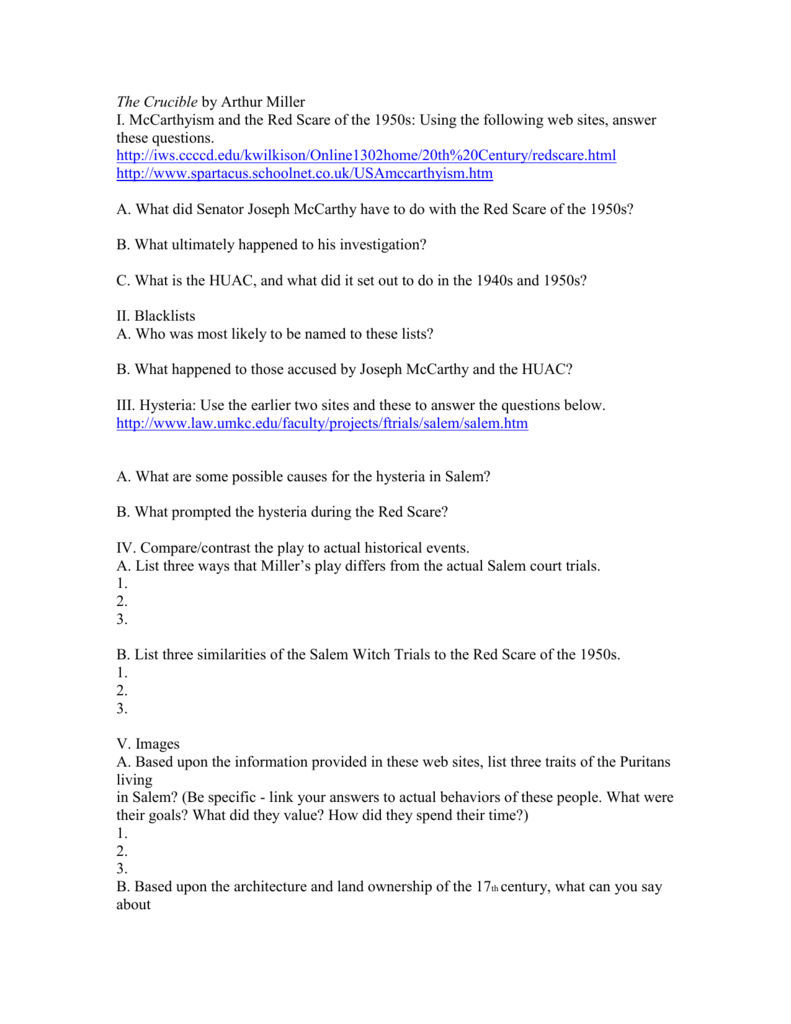 The Crucible by Arthur Miller – Salem Witch Trials Worksheet