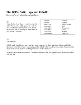 Iago Essay Lesson The Boss Skit Iago  Othello