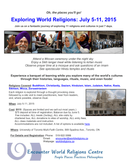 Exploring World Religions: July 5-11, 2015