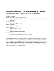 Exploring World Religions – Rev. Steven Haggmark, PhD, Presenter