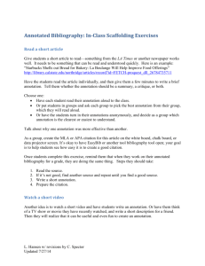 In-Class Annotated Bibliography Scaffolding Exercise