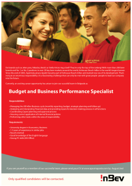 Budget and Business Performance Specialist