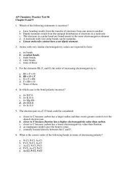 AP Chemistry Practice Test #6 Chapter 8 and 9
