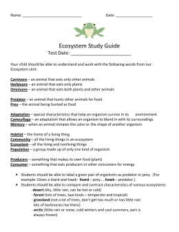 Ecosystem and biomes study guide