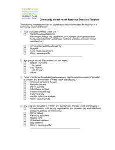 Community Mental Health Resource Directory Guidance and Template