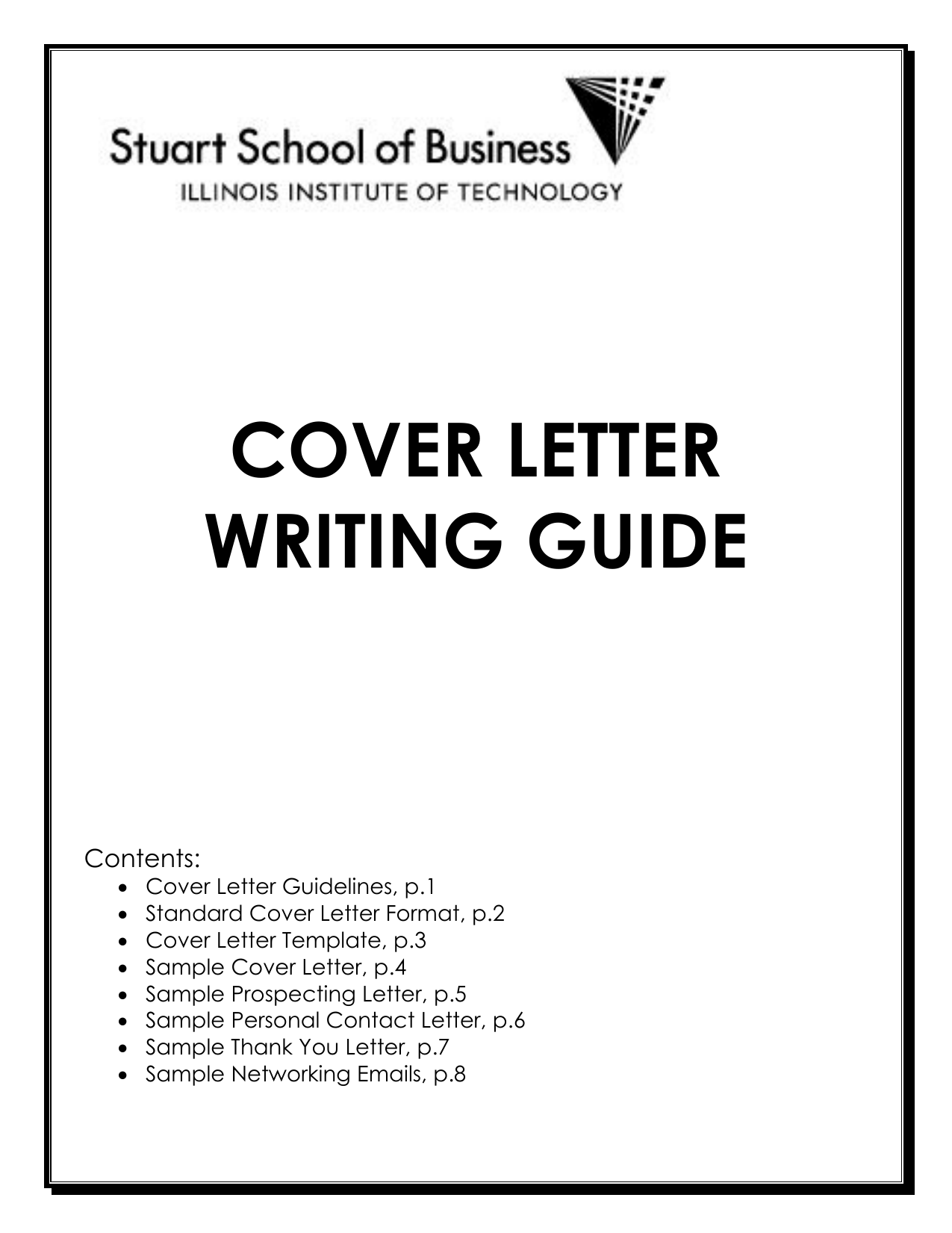 COVER LETTER WRITING GUIDE Contents O Cover Letter Guidelines P1 Standard Format P2 Template P3 Sample
