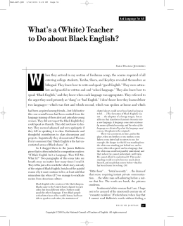 What's a (White) Teacher to Do about Black English?